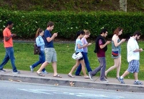 Walking with phones